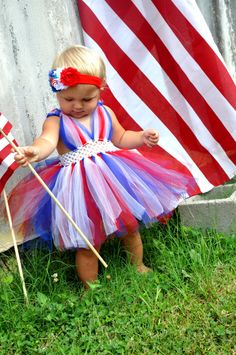 Fourth Of July Tutu Dress. I love how this is a full dress with bodice, not just a tutu