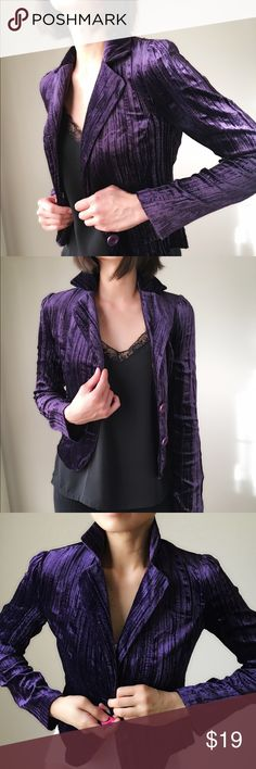 Velvet Rich blazer jacket Rich deep purple velvet blazer . My SATC closet collection . Made in USA. Two button front put flap faux pockets. Size S . 77%rayon 23%nylon . Dry clean only. Never been wor n out except for photo shooting for cover shot Jackets & Coats Blazers