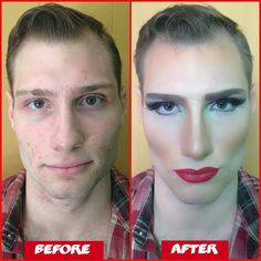 Thespian transformation / Drag queen  Contour makeup  Halloween Face paint makeup For more cool stuff follow me... Instagram: @GPEXCLUSIVES Tumbler: MUAGina Twitter: @GPEXCLUSIVES Vine: @GPEXCLUSIVES