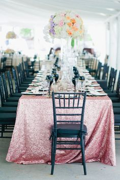 pink sequins linens | Photography by leilabrewsterphotography.com |  Event Design + Planning by trueevent.com |  Floral Design by stoneblossomflorals.com |   Read more - http://www.stylemepretty.com/2013/06/27/old-saybrook-connecticut-wedding-from-true-event-leila-brewster-photography/