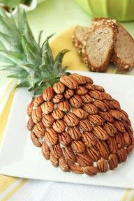 Pineapple cheese ball - covered in pecans. Clever!