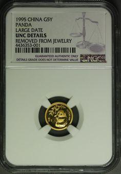 1996  China Gold 5Y - 1/20 oz  - Panda  NGC details jewelry damage
