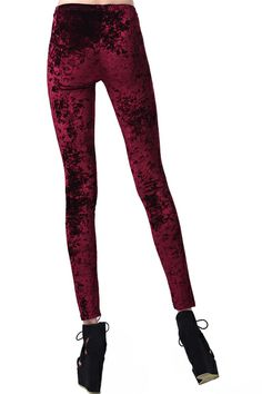 Classic Gold Velvet Wine-red Leggings #Romwe