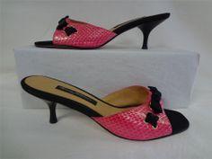 BEVERLY FELDMAN 8M Pink Snakeskin Black Satin Bow Heels Mules Slides Shoes 8