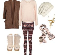 Flower leggings with faded pink sweeter with faded pink uggs