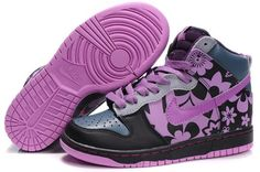 Unique Nike Dunk SB High Top Sneakers For Women 2 By Ceykey Black Orchid