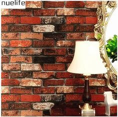 0.53x10m Thicker Chinese Retro 3D Stereo Stereo Red Striped Wallpaper Restaurant Hot Pot Antique Brick Wallpaper