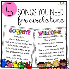 How To Produce Elementary School Much More Enjoyment 5 Songs You Need For Preschool Circle Time. Come Learn About The Must Sing Songs For Circle Time In Your Preschool Classroom Preschool Circle Time Songs, Transition Songs For Preschool, Preschool Transitions, Writing Center Kindergarten, Kindergarten Songs, Preschool Writing, Preschool Music, Kids Songs, Preschool Learning