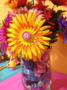 Button Blooms in a Sew Cute themed vase made for my daughters Lalaloopsy birthday party