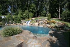 Natural Stone In-Ground Pool with Slide