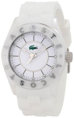 Lacoste Biarritz White Dial White Ceramic Ladies Watch 2000672 Lacoste. $191.95. White dial. White polyurethane strap with a polished stainless steel silver-tone buckle. Polished white ceramic case. Face Height: 27 mm. Watch Width: 41 mm