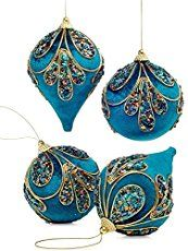 Like a peacock. This set of four embellished drop ornaments comes in a lush shade of blue with beading and glitter in a peacock pattern. Product Features  Styro