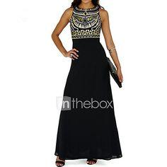 68384b3e6cbb Maxi Dresse Boho Women's Holiday Beach Loose Chiffon Dress Print Black  Spring Black M L XL