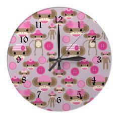 Cute Girly Pink Sock Monkey Girl Pattern Collage Wallclocks.  $26.10