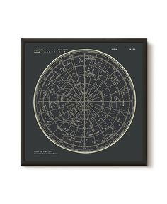 Star Map Constellations Framed Poster. Ready to Hang Print. Map of the Sky. Vintage Modern Astronomy Print. Astronomy Wall Art.