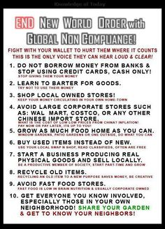 STARVE THE NEW WORLD ORDER. Help humanity starve the NWO by embracing systematic, nonviolent noncompliance.