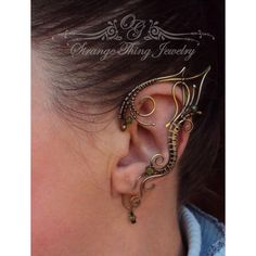 Pair of wire wrapped Elven ear cuffs Everlasting night ❤ liked on Polyvore featuring jewelry, ear cuff jewelry, beading jewelry, bead jewellery, wire wrapped jewelry and beaded jewelry