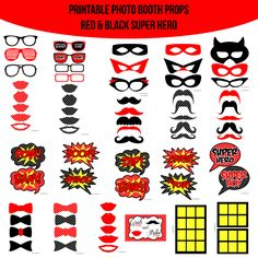 Instant Download Super Hero Red Printable Photo Booth Prop Set — Amanda Keyt DIY Photo Booth Props & More!