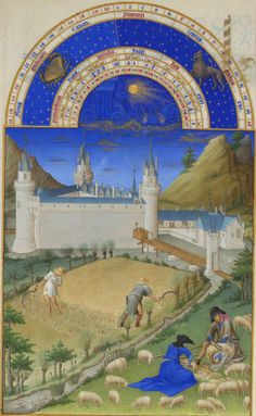 July, Très Riches Heures du Duc de Berry  The background shows the Palace of Poitiers.