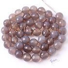 """8MM FACETED ROUND SHAPE GRAY AGATE GEMSTONE BEADS STRAND 15"""""""