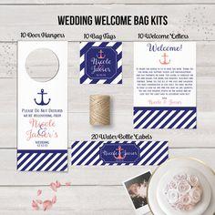 Wedding Welcome Bag Kits, Nautical Anchor, Wedding Door Hangers, Navy, Wedding Water Bottle Labels, Wedding Welcome Letters, Wedding Bag Tag