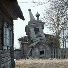 russian wooden church Sad