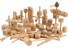 This versatile set features a variety of different shaped blocks plus rods for creative wooden construction. Includes 89 pieces, including a wooden hammer. Largest piece measures 16 x 4 x 4cm.