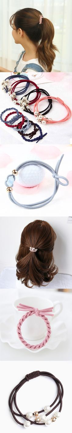 New Arrival Fashion Women Korean Pearl Hair Rope Fashion Elastic Hair Bands Promotional