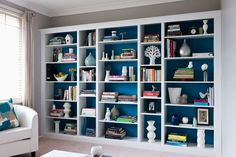 Building A House 363736107404007537 - How to Build a Budget-Wise Bookcase – Breathe new life into your lounge room with this clever, custom-built bookcase. Source by cynthiajacinthe Living Room Bookcase, Bookshelves Built In, Room Shelves, Diy Bookcases, Ikea Book Shelves, Diy Bookshelf Wall, Built In Shelves Living Room, Floor To Ceiling Bookshelves, Billy Bookcase Hack