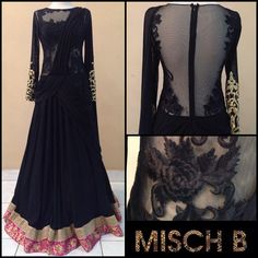 Lehenga sareegown by MischB COuture; love the pink border peeking out. Would like to see it at neckline or at cuffs perhaps. Indian Wedding Outfits, Pakistani Outfits, Indian Outfits, Indian Attire, Indian Wear, Indian Style, Ethnic Fashion, Asian Fashion, Middle Eastern Fashion