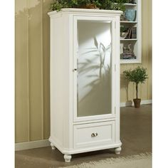 Click to Enlarge Image of Hanna White Mirrored Armoire