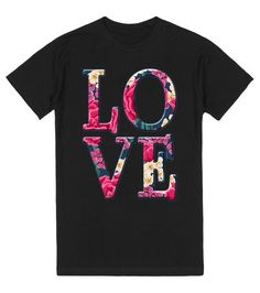 LOVE in a beautiful floral font, colors include hot pink (fuchsia), yellow, green and more. From Scarebaby Design at Skreened.