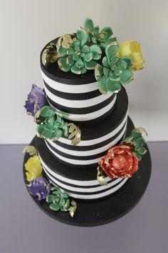 Black white strips cake , welcome baby cake , peony cake , succulent cake, engagement cake , strips cake , black white cake