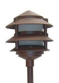 Low Voltage Landscape 3 Tier Pagoda Light in Rust Finish Outdoor Path Lighting, Driveway Lighting, Landscape Lighting, Home Lighting, Outdoor Decor, Path Lights, Solar Powered Lights, Tear, Home Repairs