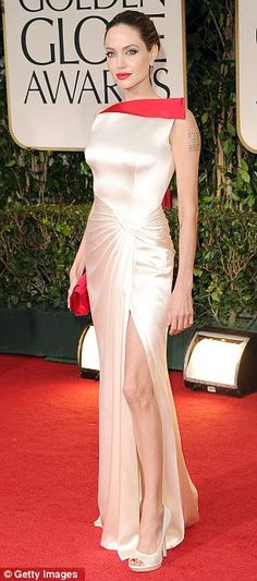 Angelina Jolie in tight satin dress with a thigh high split and red detail