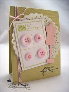 Button Greeting Cards: Ideas for Handmade Homemade Card MakingThis article has over ten different button greeting card ideas. These are all free ideas for handmade home card making. Crumb Cakes card stock with pink and white is a nice combination. Sewing Cards, Beautiful Christmas Cards, Button Cards, Origami, Card Tags, Creative Cards, Vintage Cards, Greeting Cards Handmade, Scrapbook Cards