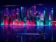 Glow night skyline by Alona Shostko Cyberpunk Aesthetic, Cyberpunk City, Futuristic City, Neon Aesthetic, Aesthetic Desktop Wallpaper, Neon Wallpaper, Scenery Wallpaper, Computer Wallpaper, Leafa Sword Art Online