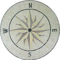 Compass Art Decor Round Medallion  Tile Marble Mosaic MD1032