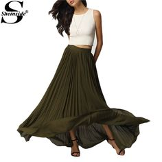 Sheinside Spring 2016 Womens New Arrival Fashion Designer Skirts Ladies Casual Pink Elastic Waist Pleated Long Skirt