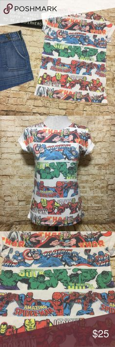 """Marvel Comics Mixed Strip Tee Amazing fitted tee by Marvel comics with multi strips of Iron Man, Thor, Captain America, The Incredible Hulk, and Spider-Man. Colorful print over a white background. Graphics are on front and back. Rolled cap sleeves. Fitted and very Stretchy. Excellent condition. No size tag but fits perfectly for a women's size small.   Measurements lying flat: • Bust: 17"""" across unstretched • Length: 23.5"""" Marvel Tops Tees - Short Sleeve"""