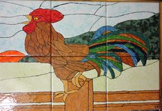 """Country Rooster Good Morning Back Splash Mural Hand Painted Kiln Fired Decorative Ceramic Wall Art Tile 12"""" X 18"""" by PamsCeramicArt on Etsy"""