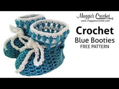 Blue Baby Bootie Free Crochet Pattern from Maggie Weldon - Right Handed - YouTube