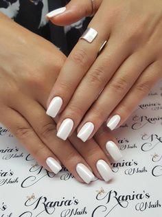 Λευκά νυφικά νυφικά. Dipped Nails, Cute Acrylic Nails, Bridal Nails, Mani Pedi, Wedding Ideas, Beauty, Bride Nails, Beleza, Wedding Nail