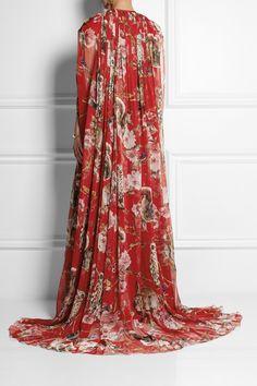 Dolce & Gabbana|Printed silk-chiffon cape|NET-A-PORTER.COM
