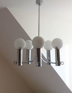 Space Age Silber Inspiration Gaetano Sciolari Metall Edelstahl Chrom Decke  Weißen Licht Kronleuchter Globen Opalisierend Glas