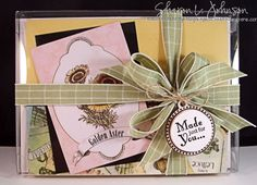 A set of 4 CAS cards packaged in a clear box for gift giving - items from  The Stamp Simply Ribbon Store.