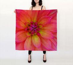 Orange Pink Silk Scarf Printed Floral Habotai by WhimZingers