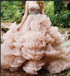 luxury pink strapless puffy princess tulle wedding dress. $545.00, via Etsy.