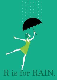 The Stanley Chow Print Shop — R is for Rain Rain Umbrella, Under My Umbrella, Walking In The Rain, Singing In The Rain, Art Et Illustration, Illustrations, Clouds And Rain, Stanley Chow, Umbrella Insurance