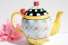 Lovely  Hand Painted Teapot. Large Tea pot. by EcoIdeology on Etsy, $43.00